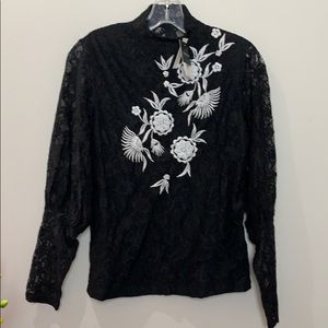 NWT Topshop black lace white beaded embroi…